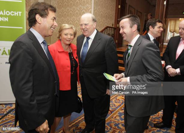 Fine Gael ministers Alan Shatter Frances Fitzgerald Michael Noonan and Brian Hayes as the party launch their campaign for a Yes vote in the upcoming...