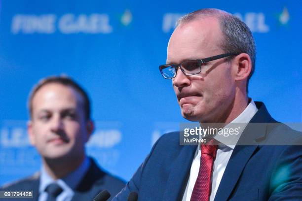 Fine Gael's Simon Coveney speaks to the crowd after he lost the vote to become the new leader of Fine Gael Leo Varadkar was elected the new leader of...