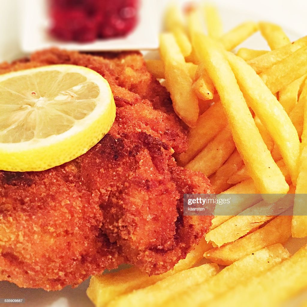Fine served cordon bleu with french fries : Stock Photo