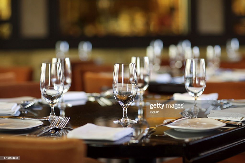 Fine table setting in gourmet restaurant (close-up) & Fine Table Setting In Gourmet Restaurant Stock Photo | Getty Images