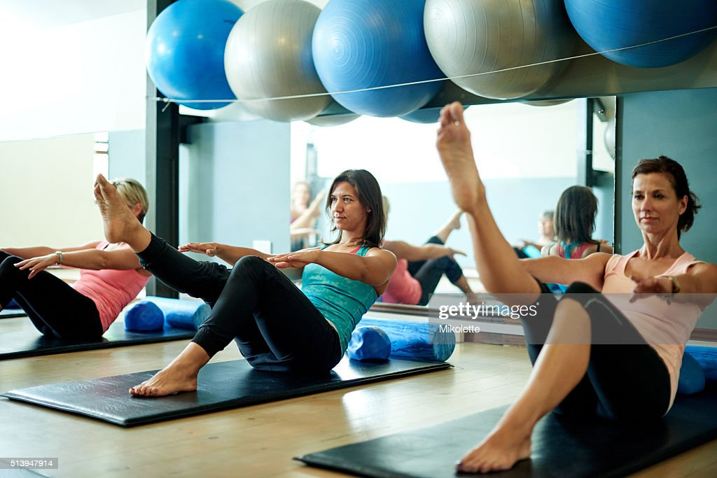 Fine tune your core with pilates : Stock Photo