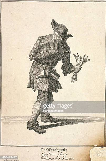 'Fine Writeing Inke' A seller of writing ink carrying a cask on his back and a bunch of quills in his hand From his waist hang a funnel and measuring...