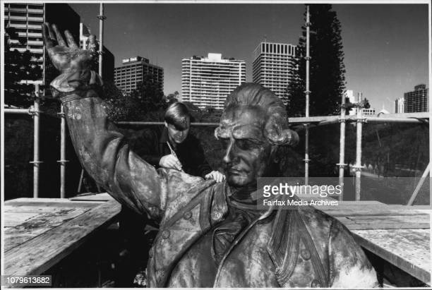Fineart bronze workers Rex Feakes 43 of Warriewood and Bruce Summers 27 of Penshurst working on the *****The statue of Captain James Cook which stand...