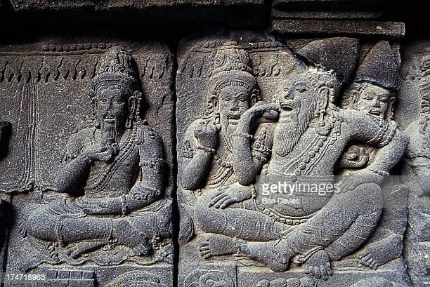 PRAMBANAN YOGYAKARTA JAVA INDONESIA Finely sculpted stone relief is among the major attractions of Prambanan one of the greatest Hindu monuments in...