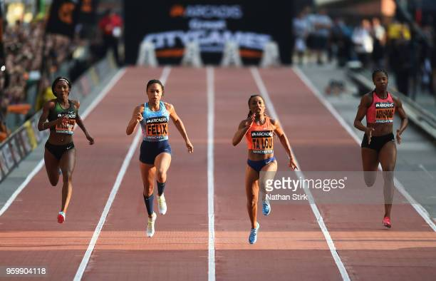 Finette Agyapong of Great Britain, Marie Josee Ta Lou of Ivory coast, Allyson Felix of United States and Bianca Williams of Great Britain compete in...