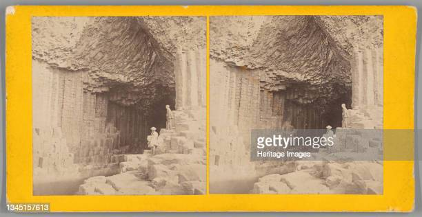 Fingal's Cave, 1850/80. [Unusual rock formation on the southwest coast of Staffa, Scottish Inner Hebrides. The cave was formed by basalt lava flows...