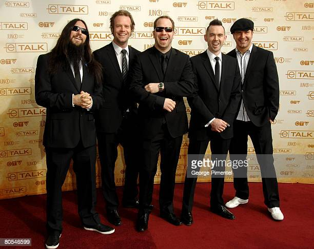Finger Eleven pose on the red carpet at the 2008 Juno Awards at the Pengrowth Saddledome on April 6 2008 in Calgary Canada