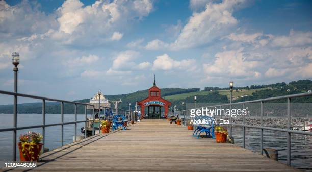 finger lakes pier - finger lakes stock pictures, royalty-free photos & images