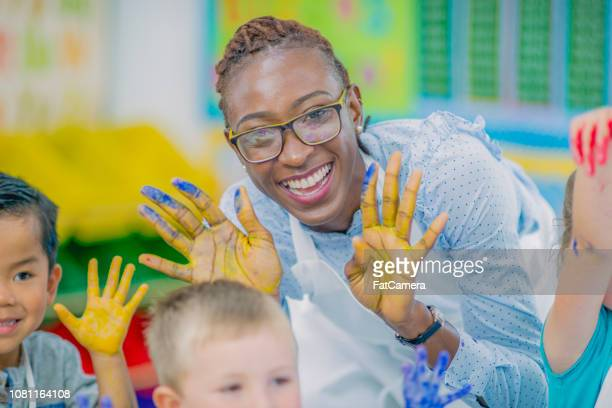 finger painting - preschool child stock pictures, royalty-free photos & images