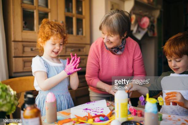 Finger Painting with Grandma