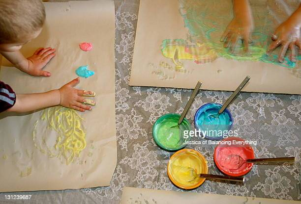 Finger painting with yogurt