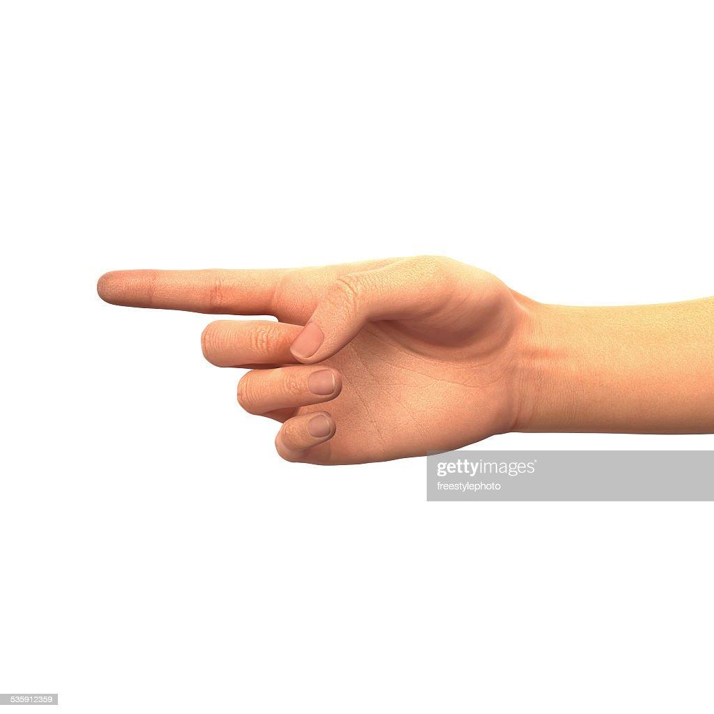 Finger pointing left : Stock Photo