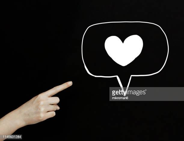 Finger pointing on a heart just liked symbol