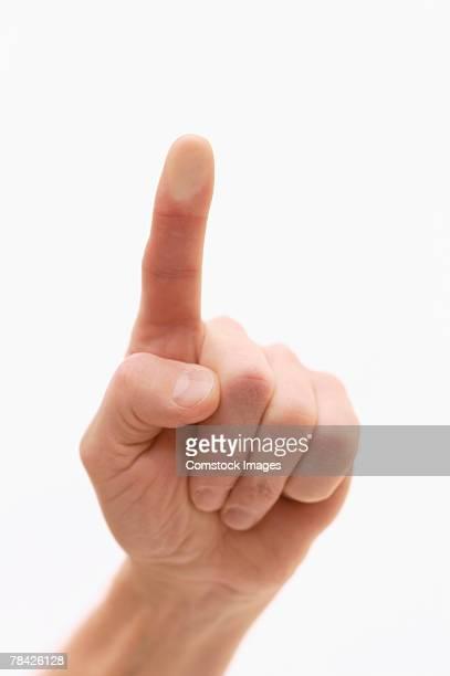 Finger pressed on glass