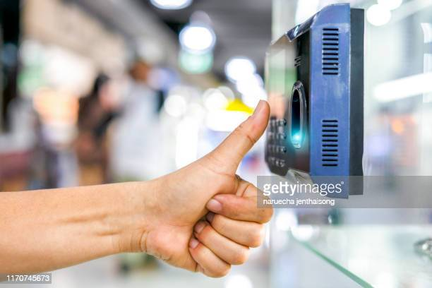 finger print and key card scan for enter security system - biometrics stock photos and pictures