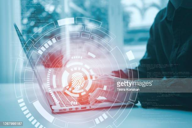 finger print icon pressed with finger, cyber security, information privacy - difendere foto e immagini stock