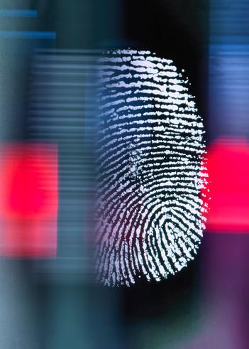 Finger print on digital screen being scanned - gettyimageskorea