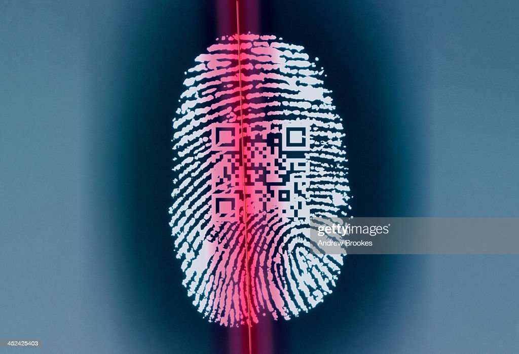 Finger print with QR code being scanned : Stock Photo