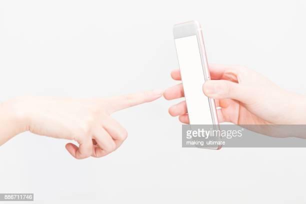 finger  touching cellphone
