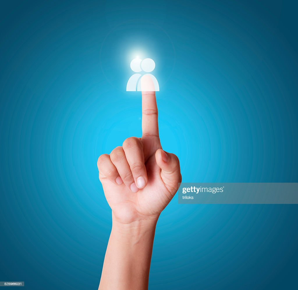 finger touching user button on a touch screen stock photo getty images