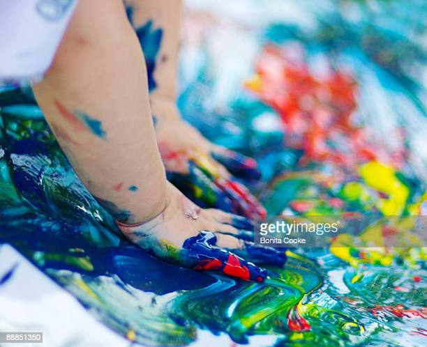 fingerpaint baby - finger painting stock pictures, royalty-free photos & images
