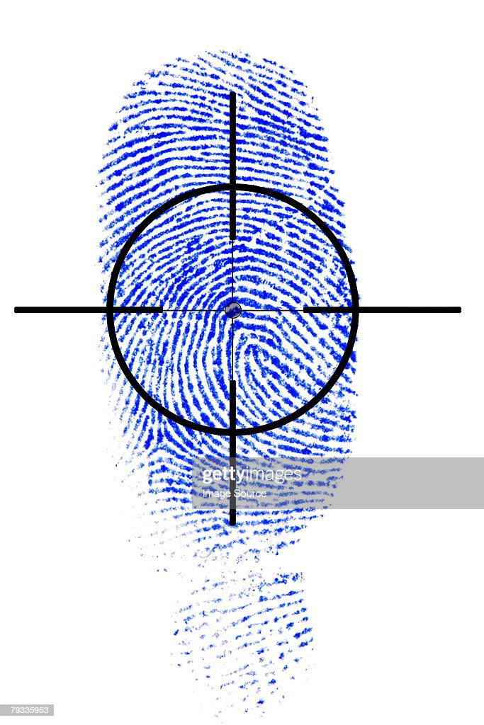 Fingerprint and target : Bildbanksbilder