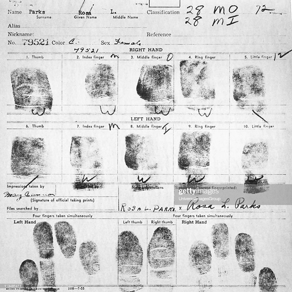 UNSPECIFIED - Fingerprint Card of Rosa Parks Civil Case 1147 Browder, et al v. Gayle, et. al: U.S. District Court for Middle District of Alabama, Northern (Montgomery) Division Record Group 21: Records of the District Court of the United States National Archives and Records Administration-Southeast Region, East Point, GA. 1955. Rosa Louise McCauley Parks (1813-2005), American Civil Rights activist was arrested for refusing to move from her seat on a segregated Montgomery bus on 1 December 1955.
