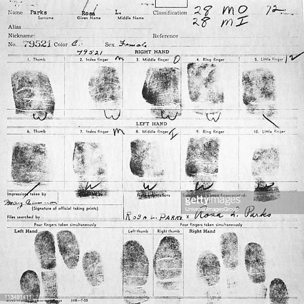 UNSPECIFIED Fingerprint Card of Rosa Parks Civil Case 1147 Browder et al v Gayle et al US District Court for Middle District of Alabama Northern...