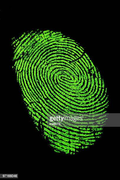 Fingerprint in green neon for fluorescence