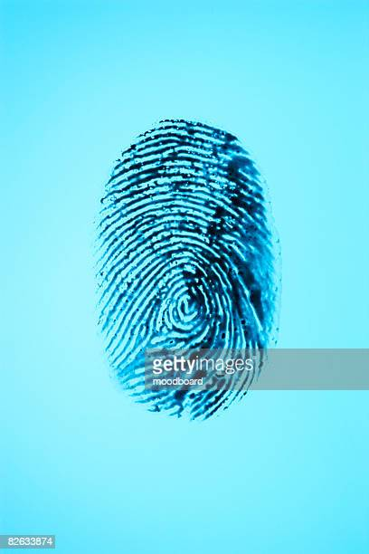 Fingerprint on blue background