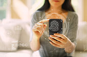 Fingerprint scanning technology with woman using a smartphone