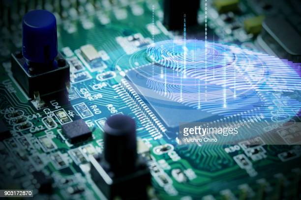 fingerprint scanning with binary code - permission concept stock pictures, royalty-free photos & images