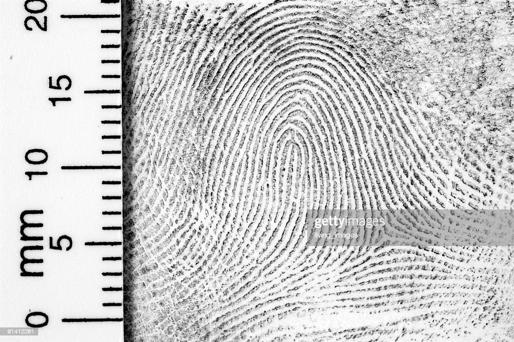 Fingerprint with ruler for measurement : Stock Photo