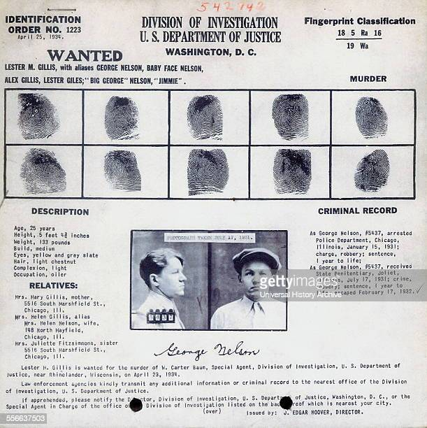 Fingerprints and photo of Lester Joseph Gillis knows under the pseudonym George Nelson was a bank robber and murderer in the 1930's Gillis was better...