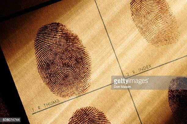 fingerprints chart - verbrechen stock-fotos und bilder