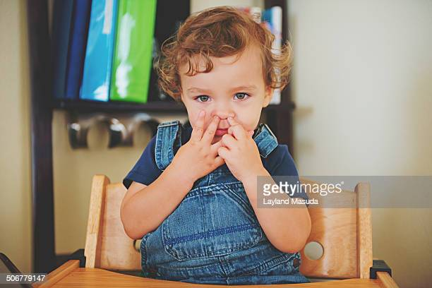 Fingers in nose - toddler