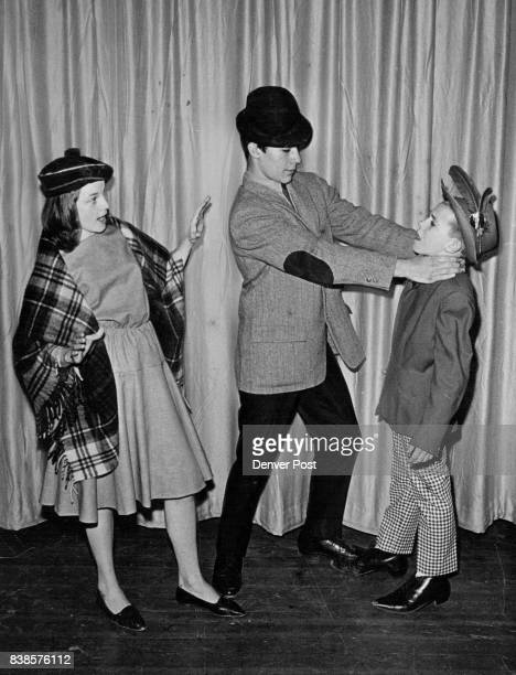 MAR 20 1965 MAR 30 1966 'Finian' Set at Hodgkins Finian portrayed by Bill Gardner attacks Og the leprechaun played by Tim Morton while Sharon...