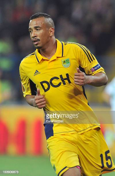 Fininho of FC Metalist Kharkiv in action during the UEFA Europa League group stage match between FC Metalist Kharkiv and SK Rapid Wien held on...