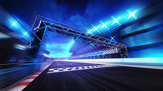 finish gate on racetrack stadium and spotlights in motion blur 1056229022