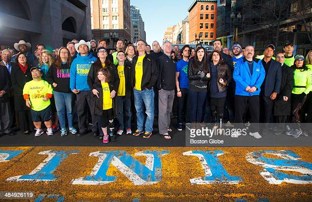 Finish Line of the Boston Marathon Nearly one year later about 200 people affected by the Boston Marathon bombing returned to the scene for a group...
