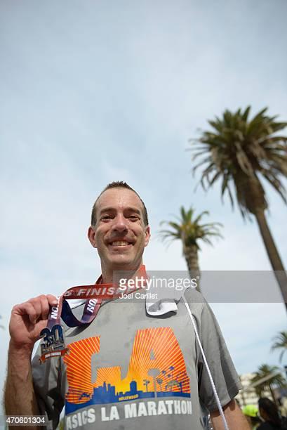finish line of the los angeles marathon - la marathon stock pictures, royalty-free photos & images