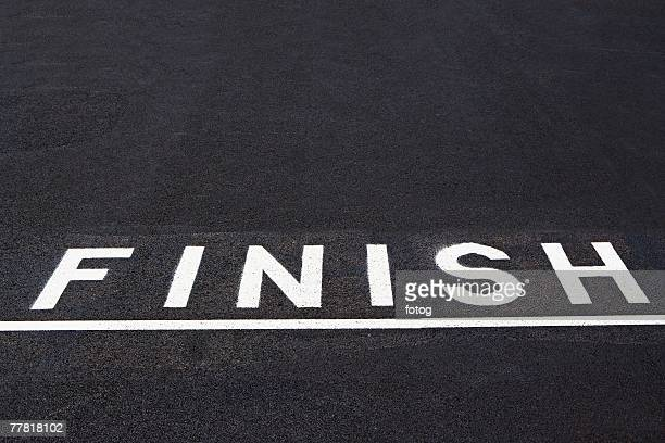 Finish line painted on asphalt