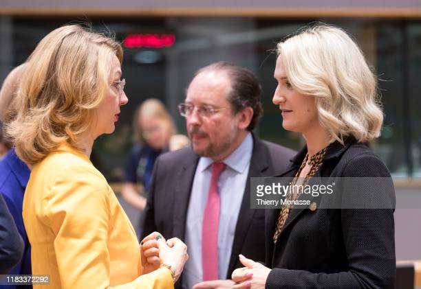 Finish Minister for European Affairs President of the Council Tytti Tuppurainen is talking with the Austrian Minister of Foreign Affairs Alexander...