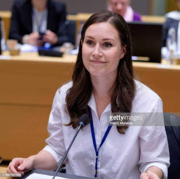 Finish Minister of Transport and Communications President of the Council Sanna Mirella Marin is waiting prior an EU transport Ministers meeting in...