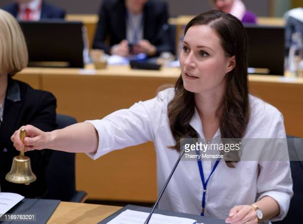 Finish Minister of Transport and Communications President of the Council Sanna Mirella Marin is calling the Minister prior an EU transport Ministers...