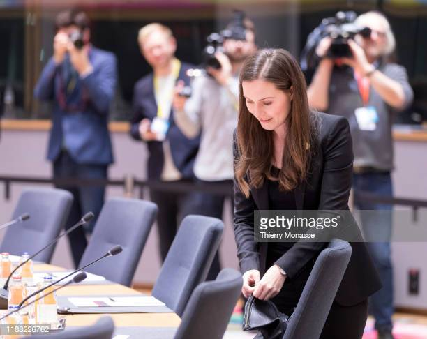 Finish Prime Minister Sanna Mirella Marin arrives for the second of a twoday summit of European Union leaders on December 13 2019 in Brussels Belgium...