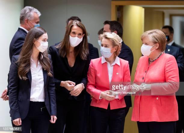 Finish Prime Minister Sanna Mirella Marin, Belgium Prime Minister Sophie Wilmes, President of the European Commission Ursula von der Leyen, and the...