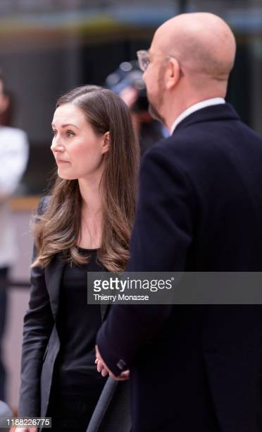 Finish Prime Minister Sanna Mirella Marin is greeted by President of the European Council Charles Michel on the second of a twoday summit of European...