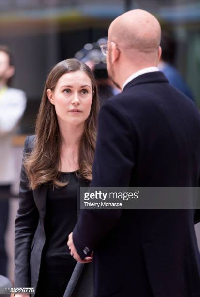 Finish Prime Minister Sanna Mirella Marin is greeted by President of the European Council Charles Michel on the second of a two-day summit of...