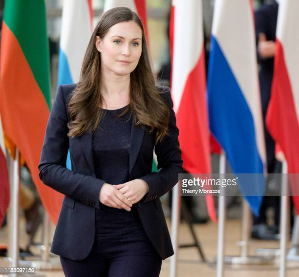Finish Prime Minister Sanna Mirella Marin talks to the media on the first of a twoday summit of European Union leaders on December 12 2019 in...